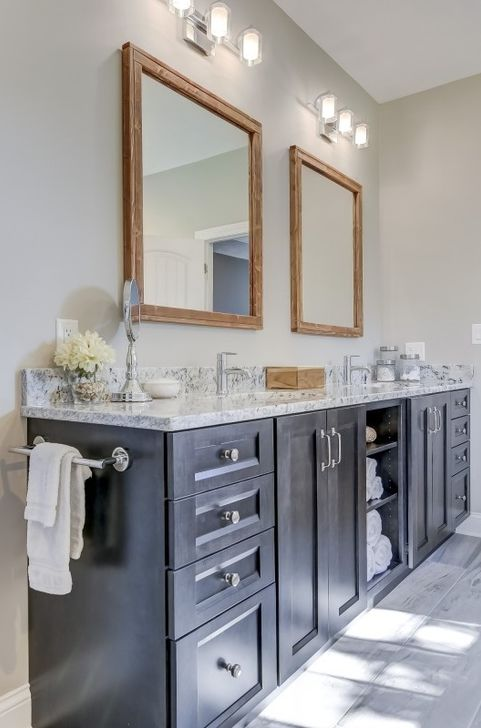 Custom black bathroom vanity
