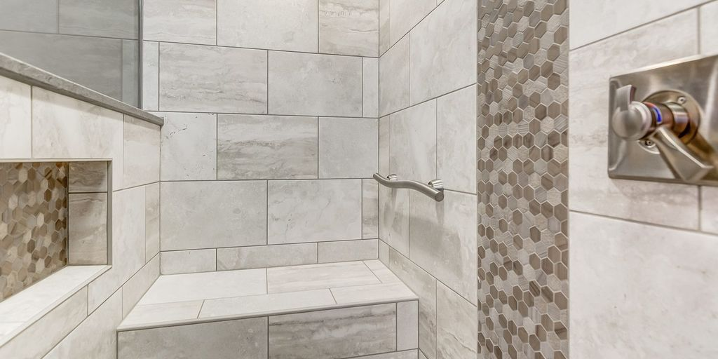 Tranquil master bath tile and accent tile