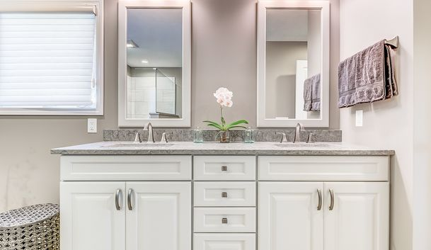 Tranquil Master Bath painted vanity