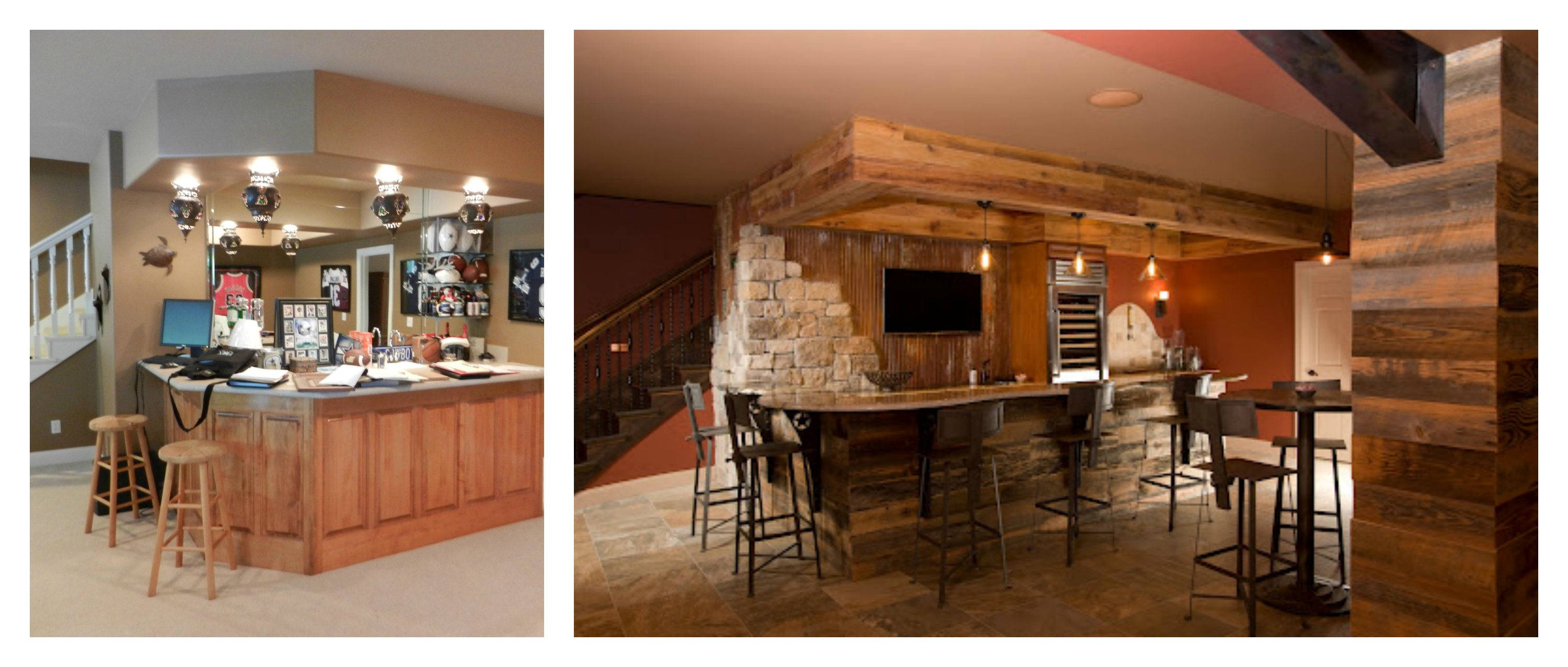 Basement remodeling possibilities dreammaker bath kitchen for Home bar renovation
