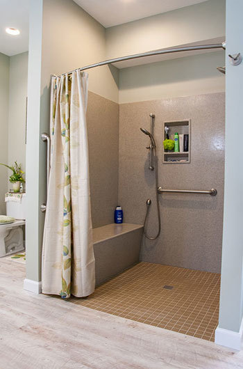 A wheelchair accesible open shower