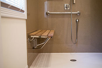 We install zero barrier entry showers with a bench for seating