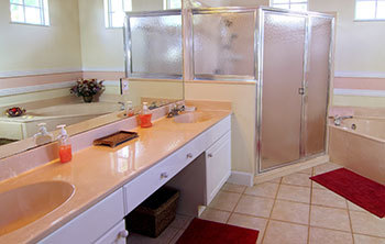 Newly renovated bathroom with new vanity and shower
