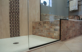 Newly remodeled open shower
