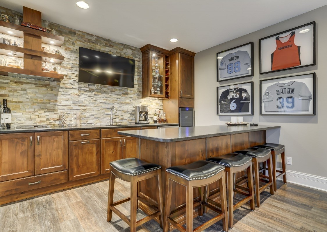 A Sophisticated Basement Bar Contemporary Basement Remodel