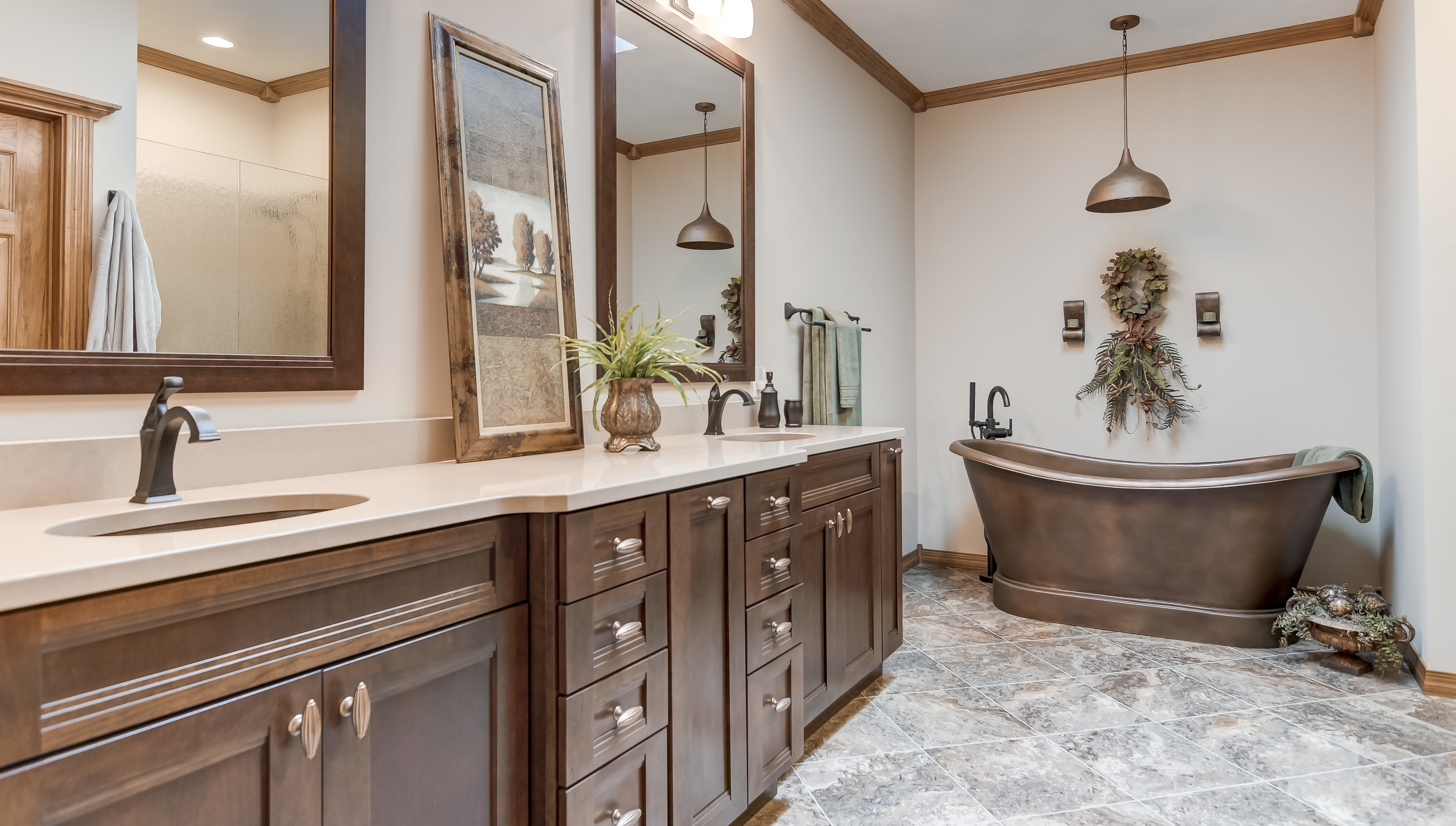 Creamy, Copper Master Bath