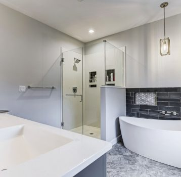 Slip Into This Gray and White Master Bath, Panther Creek