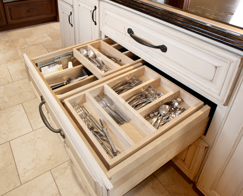cabinetry utensil drawer organizer tray